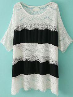 Black White Half Sleeve Loose Lace T-Shirt US$23.61