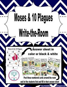 Write-the-Room The 10 Plagues and can be used by itself or combined with the Write-the-Room Life of Moses for a lesson or review. They would also be great for a bulletin board