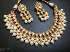 Traditional Indian Kundan Glass Pearls Necklace Earring Bollywood Jewelry Sets -- You can get additional details at the image link.