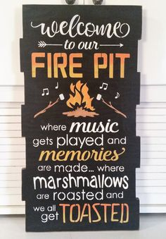 Fire Pit Ideas Backyard - Primitive Large Welcome To Our Fire Pit Sign, Outdoor Sign, Solid Wood Sign Diy Fire Pit, Fire Pit Backyard, Backyard Signs, Fire Pit Decor, Big Backyard, Patio Signs, Wood Fire Pit, Porch Signs, Back Yard Fire Pit
