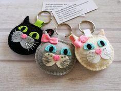 Plush Cat keychain Felt Black cat keychain Black cat charm