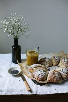 Lemon Poppyseed Scones with Passionfruit Curd I Daisy and the Fox