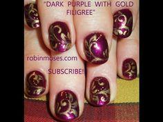 dark purple nails with gold scrolling filigree design: robin moses elegant nail art tutorial 438