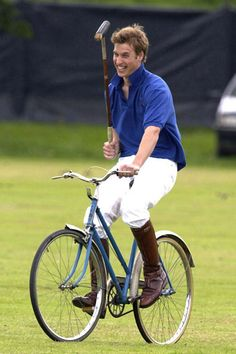 Prince William playing bicycle polo in the Rundle Cup 2002 - Tidworth Polo Club, Wiltshire