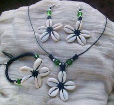 Cowry shells flower set macrame and swarovski crystal