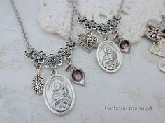 St. Maria Goretti Necklace Medal Fancy Heart and Canna Lily Charms - Saint Symbol Jewelry - Confirma