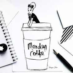 Monday coffee by Megan Hess Illustration Megan Hess Illustration, Illustration Art, Coffee Girl, I Love Coffee, Ilustración Megan Hess, Template Wordpress, Kerrie Hess, Monday Coffee, Fashion Sketches