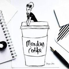 Monday coffee by Megan Hess Illustration Megan Hess Illustration, Illustration Art, Coffee Girl, I Love Coffee, Ilustración Megan Hess, Template Wordpress, Kerrie Hess, Monday Coffee, Deviantart