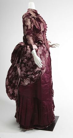 "1880 *Love the eggplant color of this* Two-piece satin dress, from the ""Underneath it All"" exhibit at the Missouri History Museum 1880s Fashion, Victorian Fashion, Vintage Fashion, Victorian Dresses, Victorian Era, Victorian Costume, Vintage Outfits, Vintage Gowns, Historical Costume"