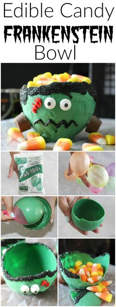 Halloween Treat! Easy to make and soooooo fun and spooky! Edible Candy Bowl - This edible candy Frankenstein bowl is the perfectly yummy Halloween treat