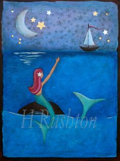Children decorMermaid Art Print Whimsical Mixed by HRushtonArt