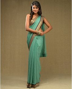 Mint Green Sari with Golden Polka Dots