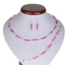 BIŻUTERIA ŚLUBNA KOMPLET ŚLUBNY wieczorowy posrebrzany kryształki bicone różowy  KP195 Beaded Necklace, Jewelry, Fashion, Beaded Collar, Jewlery, Moda, Pearl Necklace, Jewels, La Mode