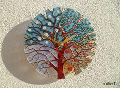 Four Seasons Tree Painting on Glass Wall Clock by MilliartGlass, $90.00