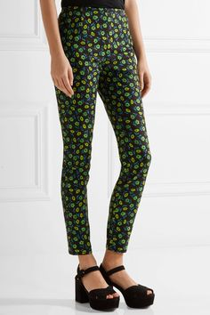 Prada - Floral-print Stretch-cotton Skinny Pants - Midnight blue - IT