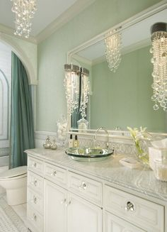 colors, mirror sinks, chandeliers  Aqua and White Bathroom2