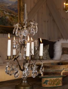 Candle stick with bohemian crystal