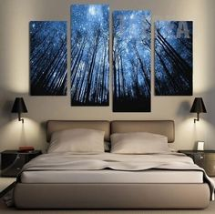 Starry Night In The Woods Painting - 4 Piece Canvas #prints #printable #painting #canvas #empireprints #teepeat