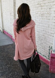Kiss Me Darling: Blush Pink Featuring Evy's Tree oversized cardigan, gray denim, black booties, wedge booties, blush pink, maxi cardigan, hoodie, graphic tee, dainty necklace, mom necklace, black bag