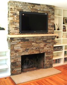 Image of: Stone Fireplace Remodel