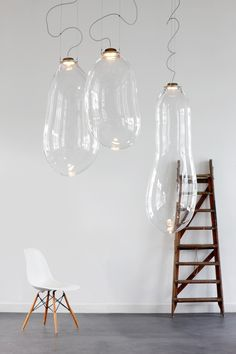 big bubble alex de witte light fixture bulb modern bright open space white walls home interior design decor lamp