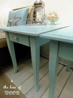 BEACH TIME - aqua side tables