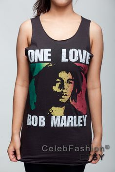 Bob Marley T Shirt One Love Ska Reggae Band Women Black T-Shirt Vest Tank Top Singlet Sleeveless Size S M. $15.99, via Etsy.