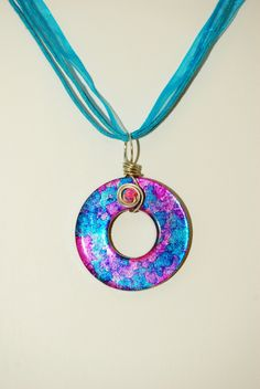 Pink & Blue Wire Wrapped Washer Pendant by nightdayaccessories. , via Etsy.