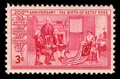 This stamp shows legendary seamstress Betsy Ross designing the American flag for George Washington. Although historians can't confirm the accuracy of the legend, Americans love the story of the flag's creation enough for the Post Office Department to issue this stamp on January 1, 1952, the bicentennial of Ross's birth.