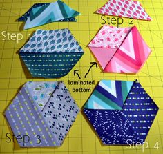 Moda Bake Shop: Quick Honeycomb Wine Coasters Color Me Happy fabric - using iron-on vinyl Great gift for wine drinkers. Quilted Coasters, Fabric Coasters, Diy Coasters, Small Sewing Projects, Craft Projects, Paper Piecing, Fabric Crafts, Sewing Crafts, Mug Rug Patterns