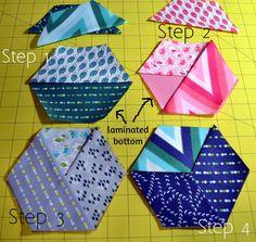 Moda Bake Shop: Quick Honeycomb Wine Coasters Color Me Happy fabric - using iron-on vinyl