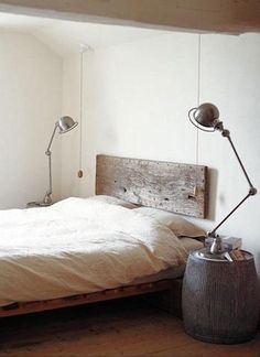 "LUMBER: Cool and easy headboard idea that could be made using ""repurposed"" semitrailer flooring."