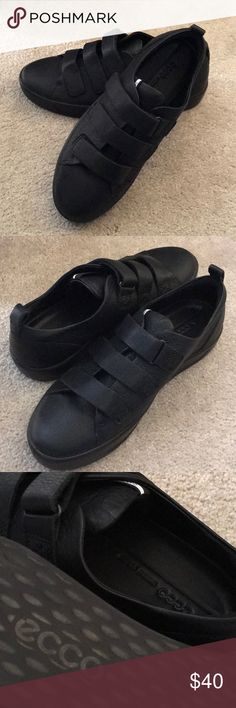 Ecco 6 strap sneaker. Size 39 (9) High end Ecco sneakers with trendy strap detail for easy slip on. Made of black cow leather with black sole. Walk for miles! Ecco Shoes Athletic Shoes