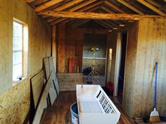 View from living area at cabin. Getting ready to hang tin.