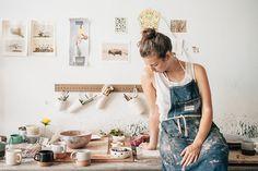 "emilyblincoe: "" in the studio with helen levi brooklyn, new york july 2014 "" Artist Life, Artist At Work, Ceramic Studio, Photography Branding, Pottery Studio, Photoshoot Inspiration, Photoshoot Ideas, Style Inspiration, Portraits"