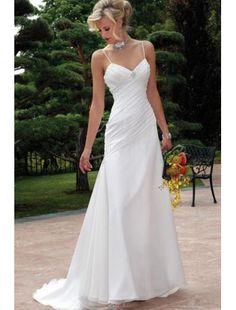 A-Linie Schnürung Weiß Chiffon Pinsel Hochzeitskleid
