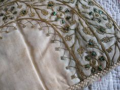 Antique Indian beetle wing metallic embroidery by OldEnglishRoses