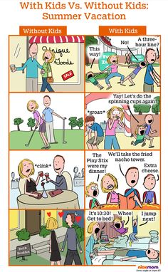 With kids vs. without kids: summer vacation.