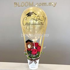 Balloon Gift, Hot Air Balloon, Graduation Cake Designs, Blooms Florist, Happy 20th Birthday, Edible Bouquets, Clear Balloons, Flower Delivery Service, Gift Bouquet