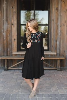 THE OLIVIA EMBROIDERED DRESS IN BLACK