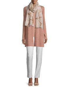-6FEP Eileen Fisher Washable-Crepe Straight-Leg Pants, Bone Silk Jersey Long Slim Camisole, Black Silk Jersey Long Slim Camisole