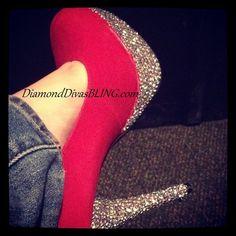 Hot Pink Heel With Diamonds