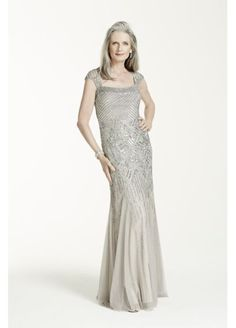 Cap Sleeve All Over Beaded Long Gown 061898790 1920s Wedding 488eebfd0c76