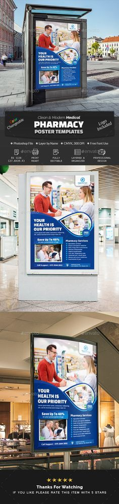Buy Pharmacy Poster Template by Creative-Touch on GraphicRiver. This Poster Template is perfectly suitable for promoting your Business. You can also use this template in multipurpos. Charity Poster, Medical Health Care, Promote Your Business, Pharmacy, Photoshop, Poster Templates, Brochures, Banner, Marketing