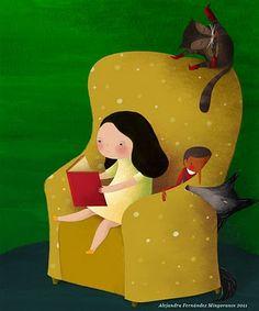 bibliolectors:    Leyendo en compañía (ilustración de Alejandra Fernández Mingorance)