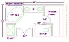 Free Bathroom Plan Design Ideas - Free Bathroom Floor Plans/Free Floor Plan for a Master Bath Addition Master Bedroom Addition, Small Master Bath, Master Bathroom Layout, Modern Master Bathroom, Master Suite, Master Plan, Classic Bathroom, Modern Bathrooms, Bathroom Floor Plans