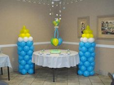Baby Shower Centerpieces For Tables | BABY BOTTLE BALLOON COLUMNS ARE GREAT DECORATIONS FOR THE CAKE TABLE ...