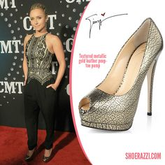 Hayden Panettiere in Giuseppe Zanotti Textured Gold Metallic Leather Pumps - ShoeRazzi