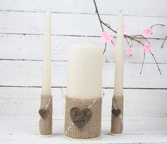 Rustic Wedding Unity Candle Set, Wedding Gift, Personalised Wedding Gift, Wedding Decorations, Rustic Wedding by SimplyCosyMBA on Etsy