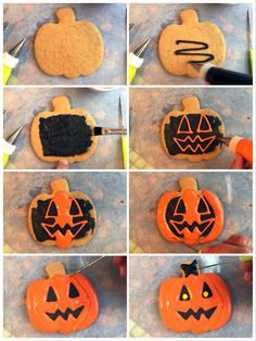 Halloween 2019 Jack O Lantern Sugar Cookie Tutorial. I tried a dozen different methods and options - I found this approach created the best Jack O Lantern without too much fuss but with still a decent amount of detail and character Halloween Sugar Cookies, Iced Sugar Cookies, Halloween Projects, Halloween Ideas, Halloween 2019, Fall Halloween, Jack O Latern, Davids Cookies, Sweet Box